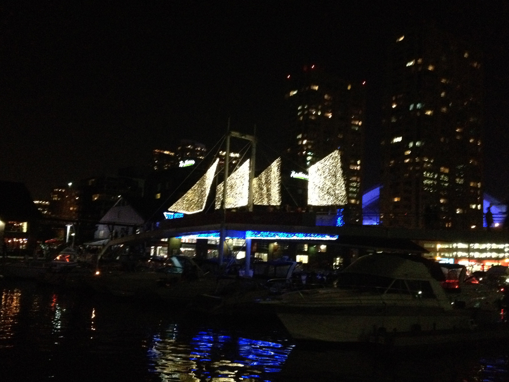 lights on Harbourfront bridge