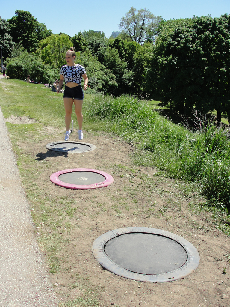 Trampolines in Trinity Bellwoods Park